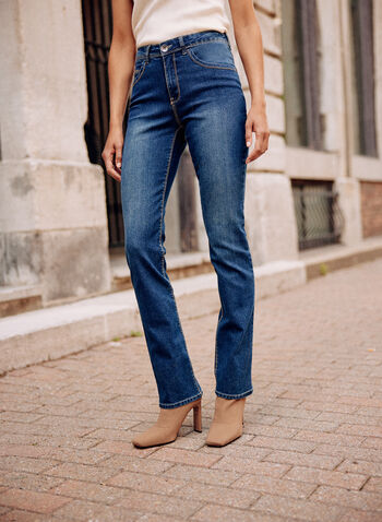 Straight Flare Leg Jeans, Blue,  spring summer 2021, jeans, denim, pants, flare leg, straight leg, flared, zipper, button, belt loops, pockets, embroidery