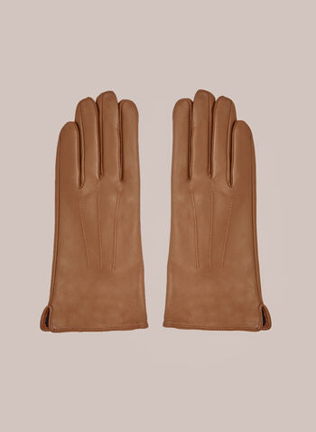 Three Point Leather Gloves, Brown,  Fall winter 2020, gloves, real, genuine, leather, three point