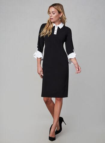 Karl Lagerfeld Paris - Robe à col chemisier, Noir,  perles, manches tulipe, robe à manches ¾, robe à manches 3/4, petite robe noire, automne hiver 2019