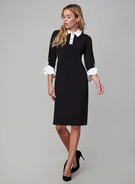 Karl Lagerfeld Paris - Robe à col chemisier, Noir, hi-res