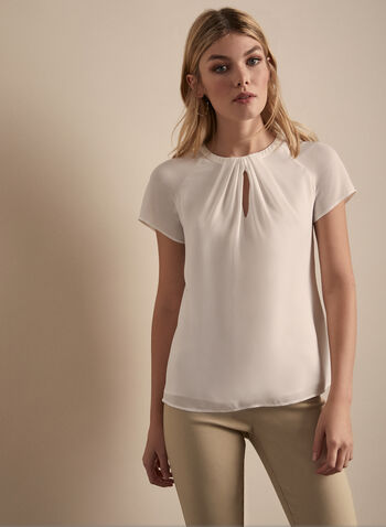 Pleated Keyhole Detail Blouse, Off White,  top, blouse, pleated, short sleeves, crepe, layered, keyhole, spring summer 2020