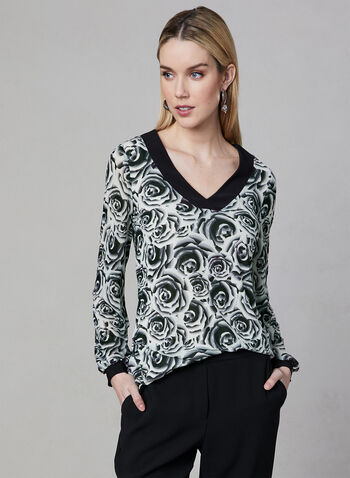 Floral Print V-Neck Top, White, hi-res
