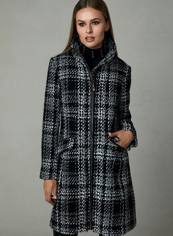 Karl Lagerfeld Paris - Plaid Print Coat, Black, hi-res