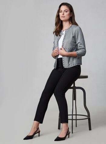 Vince Camuto - Chevron Jacket, Grey, hi-res,  Vince Camuto, jacket, chevron, 3/4 sleeves, open front, fall 2019, winter 2019