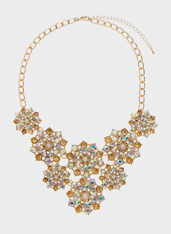 Crystal Statement Bib Necklace, Yellow, hi-res