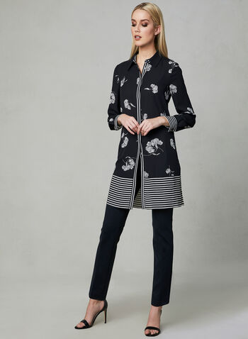 Floral Print Duster Blouse, Black, hi-res,