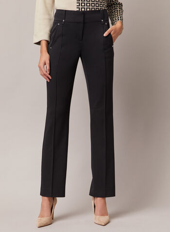 Lauren Fit Straight Leg Pants, Black,  pants, lauren, straight leg, b-stretch, pleats, pockets, fall winter 2020