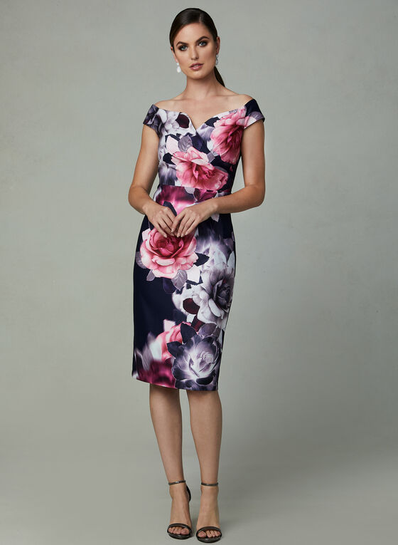 Ignite Evenings - Floral Print Scuba Dress, Black, hi-res