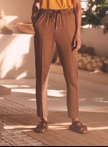 Emma Fit Fluid Denim Pants, Beige,  fluid denim, light denim, pants, tencel, emma, peg leg, tapered, ankle length, drawstring, pull-on, grommets, pleats, spring summer 2020