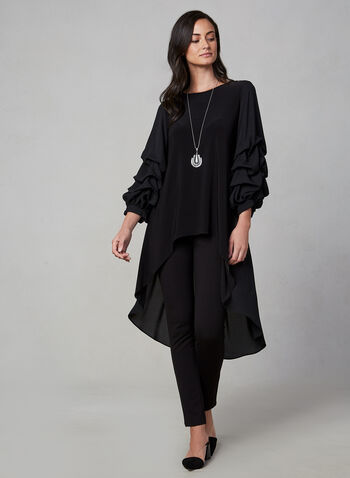 Frank Lyman - Popover Top, Black,  canada, crew neck, long sleeves, popover, high low top, top, blouse, chiffon, pleated, fall 2019, winter 2019