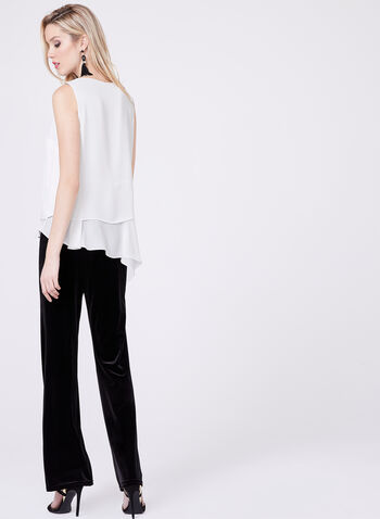 Sleeveless Layered Chiffon Top, Off White, hi-res