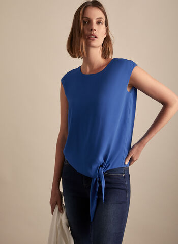 Tie Front Top, Blue,  fall winter 2019, crepe, sleeveless, blouse