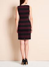 Sleeveless Stripe Print Dress, Black, hi-res