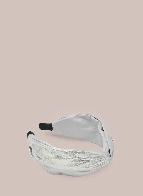 Metallic Fabric Headband, Silver