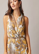 Snake Print Chain Belt Dress, Multi