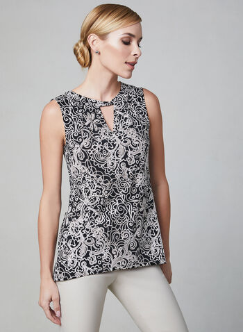 Rope Print Sleeveless Top, White, hi-res,  jersey, cutout, textured, embroidered, spring 2019