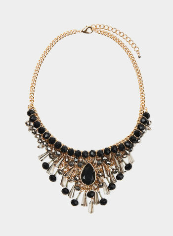 Faceted Crystal Bib Necklace, Black, hi-res