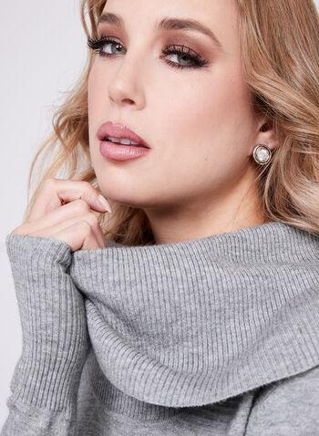 Cowl Neck Knit Tunic, Grey, hi-res