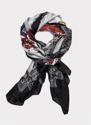 Foulard à motif fleurs et dentelle, Noir, hi-res
