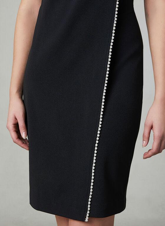 Karl Lagerfeld Paris - Faux Wrap Sheath Dress, Black, hi-res