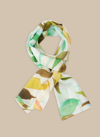 Leaf Print Silk Scarf, Green,  spring summer 2020, silk, scarf, lightweight, leaf print