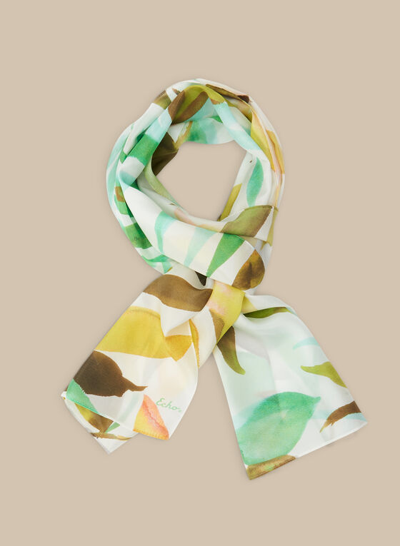 Leaf Print Silk Scarf, Green