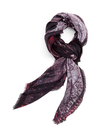 Train Print Fringed Scarf, Red, hi-res
