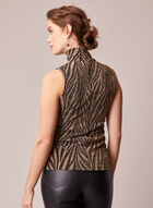 Animal Print Sleeveless Top, Black