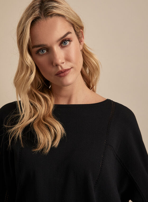 Bat Sleeve Sweater, Black