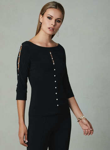Joseph Ribkoff - Pearl Detail Top, Black, hi-res