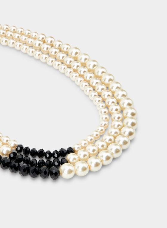 Collier à rangées de perles, Noir, hi-res