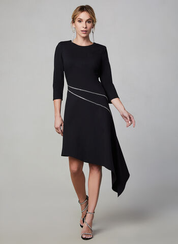 Vince Camuto - 3/4 Sleeve Asymmetric Dress, Black, hi-res,  dress, asymmetric hemline, round neckline, 3/4 sleeves, zipper closure, fall 2019, vince camuto