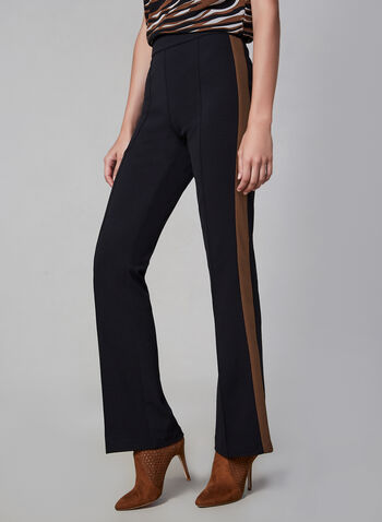 Flare Leg Pants, Black,  fall winter 2019, stretchy fabric, two tone, contrast stripe