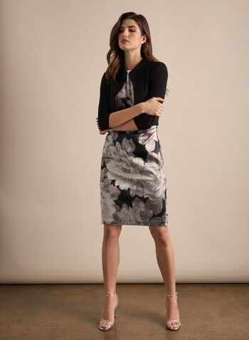 Maggy London - Floral Cocktail Dress, Black,  dress, cocktail, sheath, floral, satin, sleeveless, scoop neck, wrap, spring summer 2020