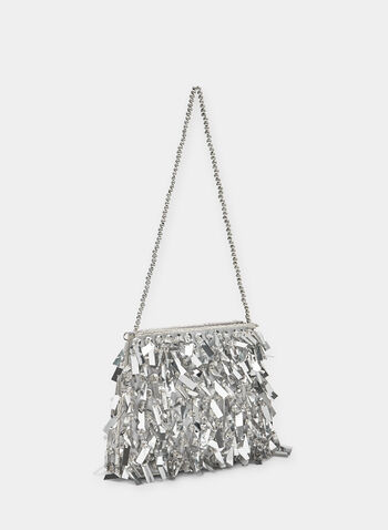 Metallic Fringe Clutch, Silver, hi-res