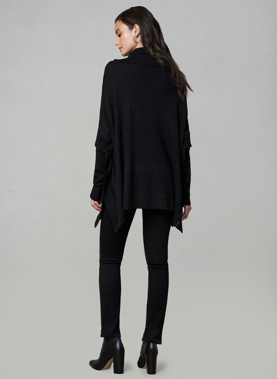 Long Sleeve Knit Poncho, Black, hi-res