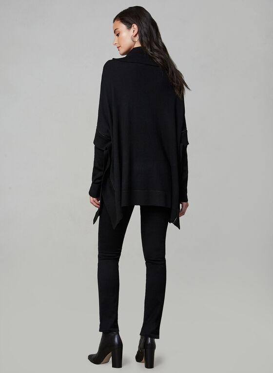 Poncho en tricot à manches longues, Noir