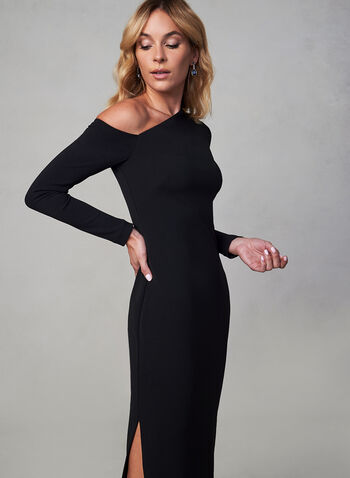 Vince Camuto - Crepe Dress, Black,  Vince Camuto, dress, occasion dress, gown, long sleeves, floor length, crepe, asymmetrical, fall 2019, winter 2019