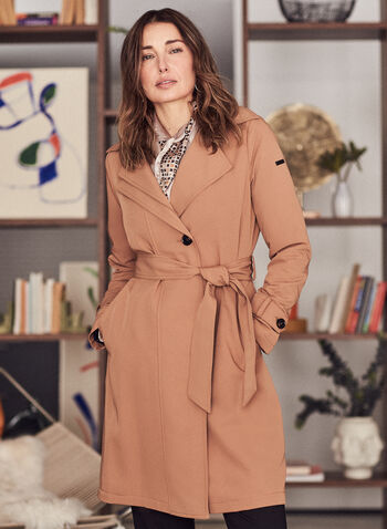 Novelti - Belted Trench Coat, Brown,  spring summer 2021, long sleeves, button closure