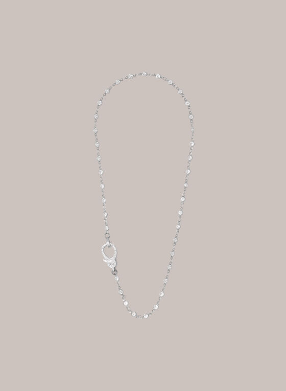 Chain & Crystal Necklace, Silver