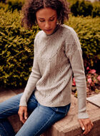 Mock Neck Cable Knit Sweater, Grey