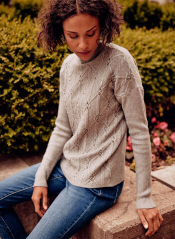 Mock Neck Cable Knit Sweater, Grey,  fall winter 2021, top, sweater, shirt, pullover, cable knit, mock neck, metallic beads, embellishments, detail, long sleeves, soft, comfy