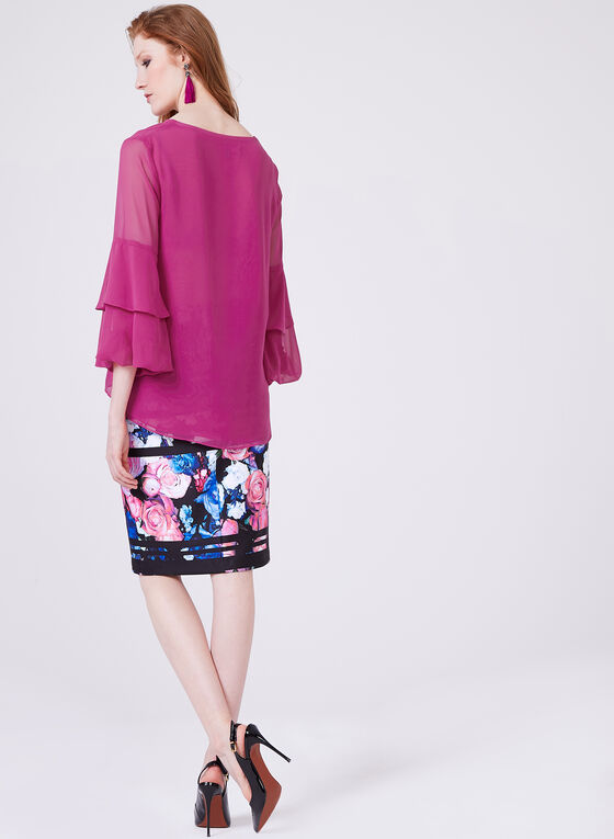 Tiered Bell Sleeve Solid Colour Chiffon Blouse, Purple, hi-res