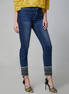 Embroidered Slim Leg Jeans, Blue, hi-res
