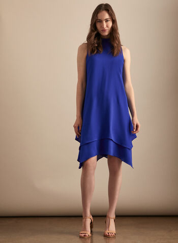 Maggy London - Crepe Layered Hemline Dress, Blue,  day dress, sleeveless, crepe, layered, mock neck, spring summer