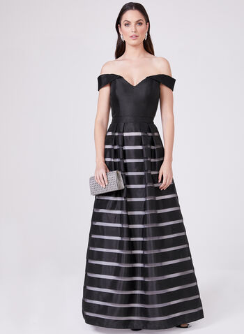 BA Nites – Off The Shoulder Stripe Print Gown, Black, hi-res