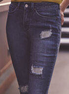 Joseph Ribkoff - Jeans effet usé à détails strass, Bleu