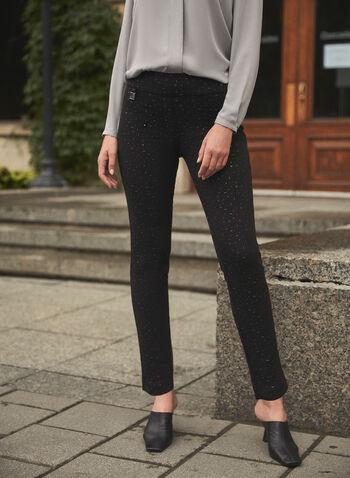 Joseph Ribkoff - Crystal Detail Pants, Black,  fall winter 2021, made in Canada, Joseph Ribkoff, Frank Lyman, designer, brand, online exclusive, pull-on, elastic waist, slim leg, crystal, embellished, confetti
