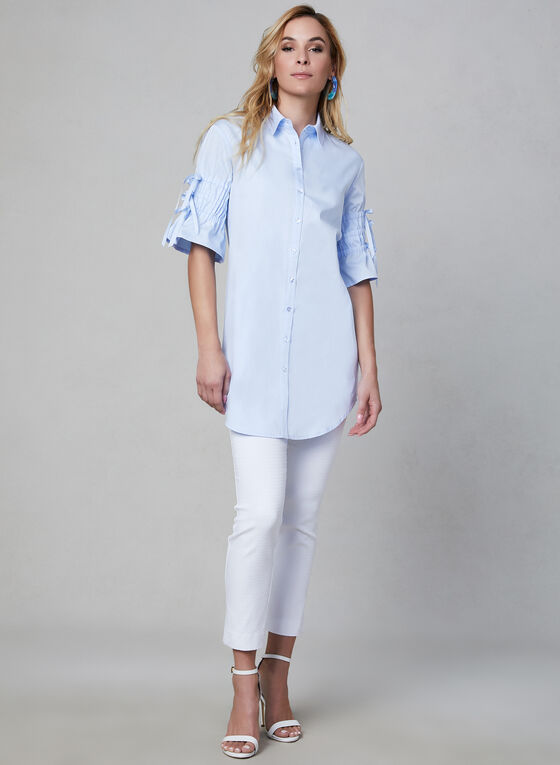 Chambray Cotton Tunic, Blue
