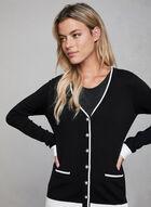 Cardigan en tricot à boutons perlés, Noir, hi-res